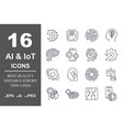 set of machine learning line icons simple vector image vector image