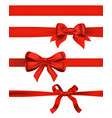 set of red bows on white decorative design vector image vector image