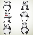 Set of six cute pandas vector image vector image