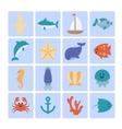 set sea icons vector image
