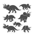 set triceratops dinosaurs logo design icon vector image vector image