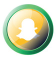 snapchat logo with green round frame icon on a vector image vector image