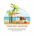 summer beach accessories and palm tree on beach vector image