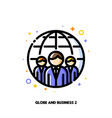 three business persons and globe icon vector image vector image