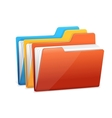 Three folders with paper vector image vector image