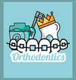 tooth crown orthodontics dental floss and electric vector image