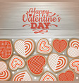 top view of valentine cookies on wooden background vector image