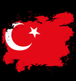 Turkey flag grunge style on black background Brush vector image vector image