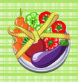 vegetables on a plate with a measuring tape vector image vector image