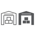 warehouse line and glyph icon building and store vector image vector image