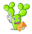 with envelope cartoon opuntia cactus in the desert vector image