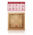 wooden box and package symbols vector image