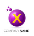 x letter splash purple dots and circle bubble vector image vector image