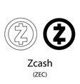 zcash black silhouette vector image vector image