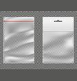 ziplock plastic packets 3d realistic set vector image