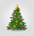 the christmas tree is decorated with colorful vector image