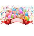 balloons with celebration banner vector image