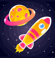 an orange rocket sticker with pink stripes and vector image vector image