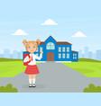 back to school cute elementary school girl vector image