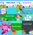 back to school desk banner concept set flat style vector image
