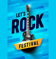 blue rock festival concert poster with guitar vector image