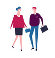 business people walking with bags together vector image