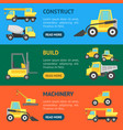cartoon construction machinery banner horizontal vector image