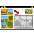 cartoon dog jigsaw puzzle game vector image vector image