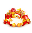 Christmas background with a teddy bear vector image vector image