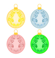 Christmas balls with ornaments christmas trimmings vector image vector image