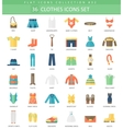 Clothes color flat icon set Elegant style vector image vector image