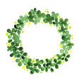 clover leaf wreath watercolor hand painting vector image vector image
