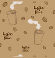 coffee seamless pattern hand drawn repeating vector image vector image