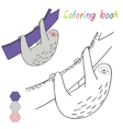 Coloring book sloth kids layout for game vector image vector image