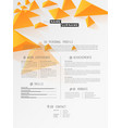 creative simple cv template with orange triangles vector image vector image