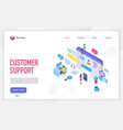 customer support landing page template vector image vector image