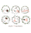 cute baby animal with flower border cartoon vector image vector image