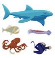 deep sea dangerous unusual creatures isolated vector image vector image