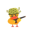 Duckling Soldier Cute Character Sticker vector image