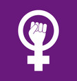 female woman feminism protest hand icon vector image vector image