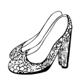 Floral High Heeled Shoes Icon vector image