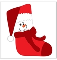 Funny character snowman on sock vector image vector image