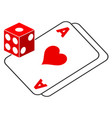 gambling dice and cards flat icon vector image