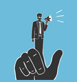 hand and puppet with megaphone vector image vector image