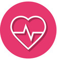 heart rate in circle line icon vector image vector image