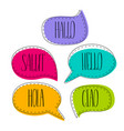 hello colorful doodle speech bubbles vector image vector image