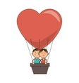 hot air balloon love couple vector image vector image