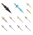 isolated object of sword and dagger sign set of vector image vector image