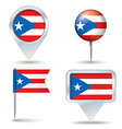 Map pins with flag of Puerto Rico vector image