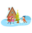 merry christmas on a winter landscape vector image vector image